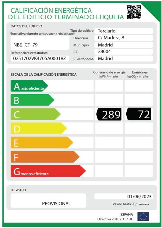 Certificado de eficiencia energética etiqueta