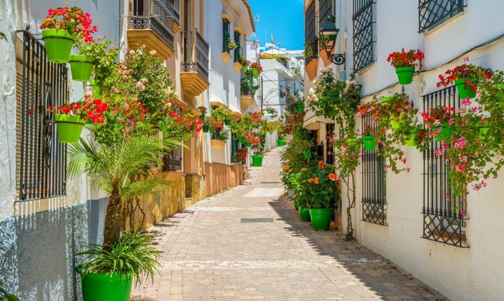 calle con flores de Estepona