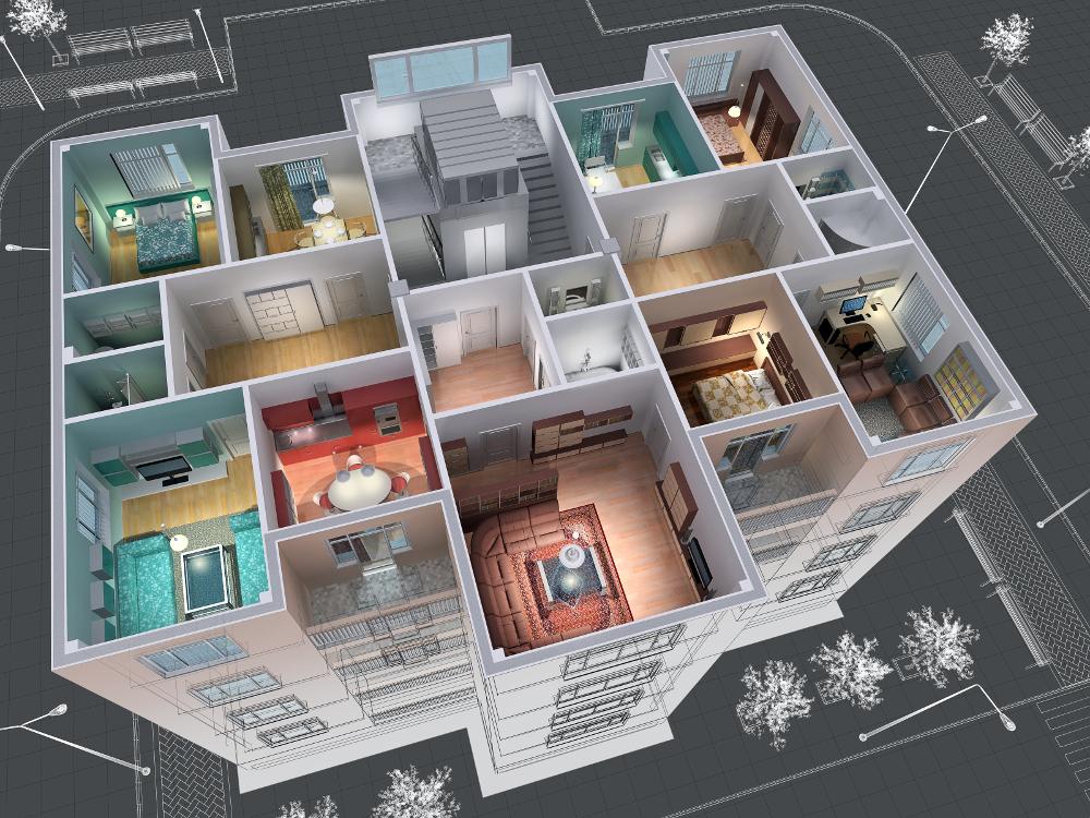 maqueta de distribución de una casa