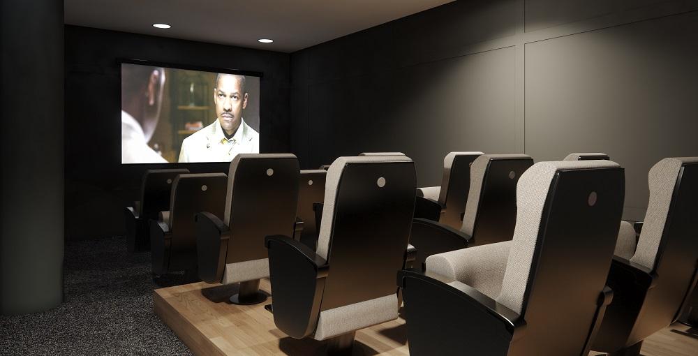 sala de cine zonas comunes premium edificios obra nueva