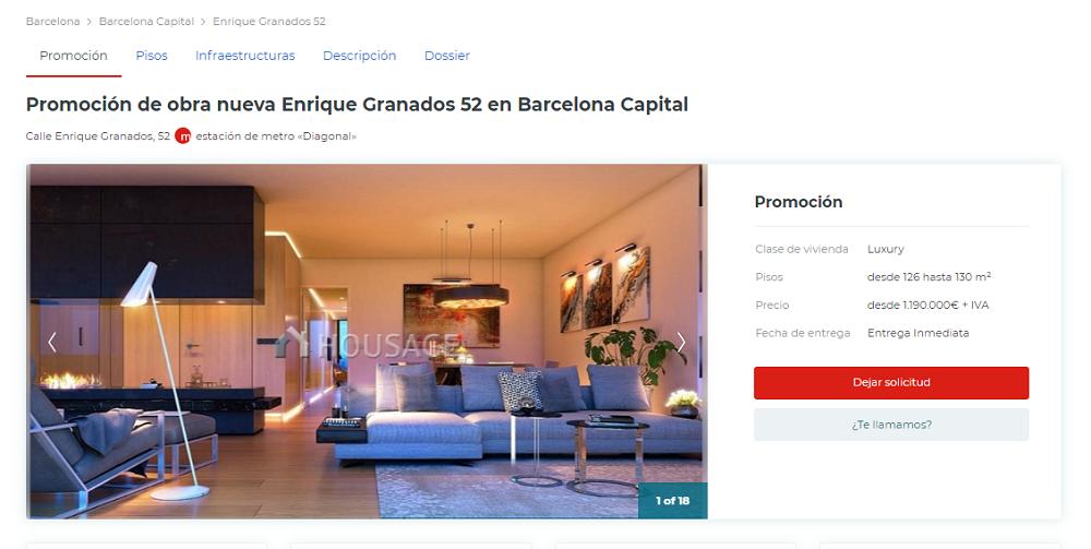 piso de obra nueva a la venta en Barcelona anunciado en Housage.es